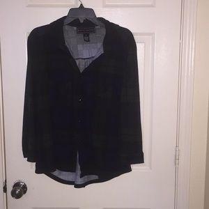 Tops - Dark green flannel